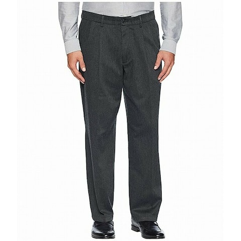 Dockers Mens Signature Khaki Pants Gray Size 38x34 Relaxed Fit Pleated