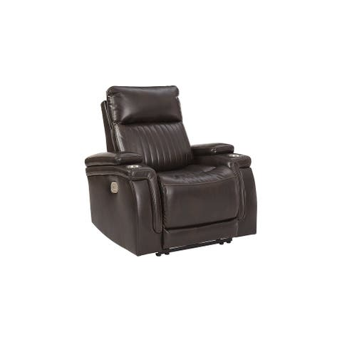 Team Time Power Recliner with Adjustable Headrest, Brown