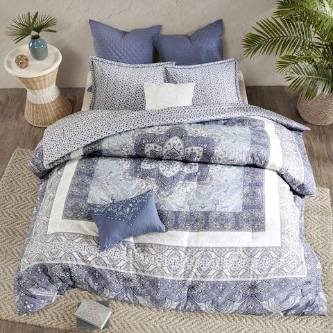 Urban Habitat Aria Blue Cotton Reversible Duvet Cover Set