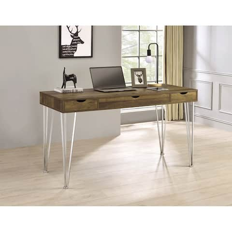 Samson Brown Oak and Chrome 3-drawer Writing Desk