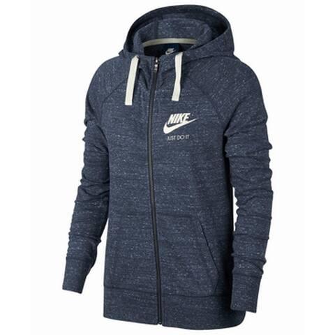 Nike Heather Blue Women Size XS Logo Just Do It Print Zip-Up Sweater
