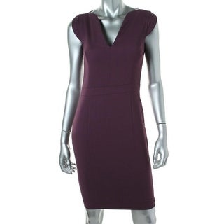 French Connection Womens V-Neck Cap Sleeves Wear to Work Dress - 2