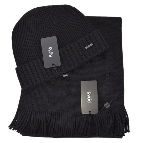 e70e08820cbbf6 Shop Hugo Boss Men's ALBAS Black Ribbed Beanie Scarf Boxed Gift Set ...