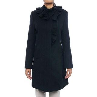 Elie Tahari Sara Ruffle Collar Doubleface Coat Basic Coat 3AA