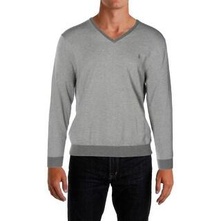 Polo Ralph Lauren Mens V-Neck Sweater Herringbone Monogram