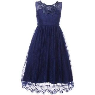 Flower Girl Dress Lace & 3D Flower Neckline Navy CC 5036 (Option: 4)