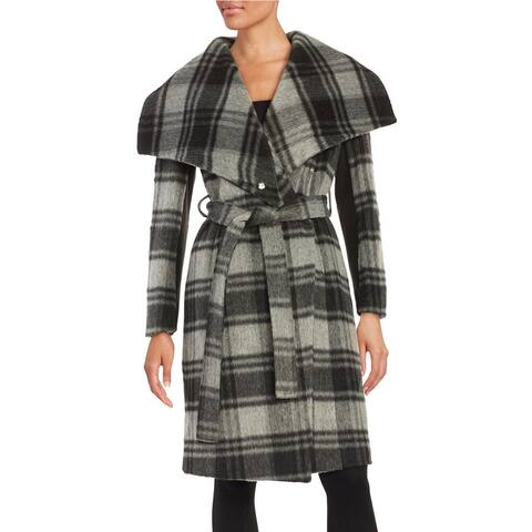 BCBGeneration Women's Gray Plaid Wrap Coat (XS)