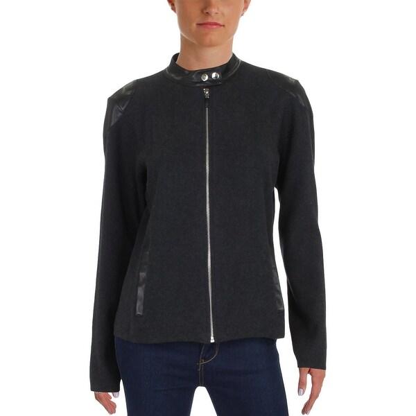 0425728eaf87 Lauren Ralph Lauren Womens Alisona Motorcycle Jacket Faux Leather Trim  Front Zip