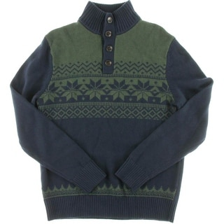 Tommy Hilfiger Mens Wool Blend Fair Isle Cardigan Sweater
