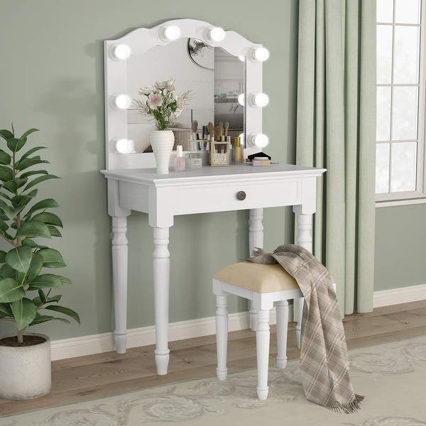 White Vanity Set With Lighted Mirror Makeup Dressing