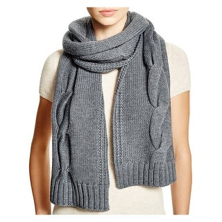 Tory Burch Womens Grey Merino Wool Chunky Cable Knit Scarf One Size - One Size