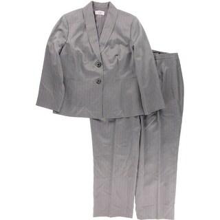 Le Suit Womens Plus Herringbone 2PC Pant Suit