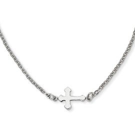Chisel Stainless Steel Polished Sideways Cross 18in Necklace (2 mm) - 18 in