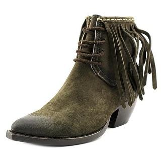 Frye Sacha Fringe Chukka Women Apron Toe Suede Green Chukka Boot