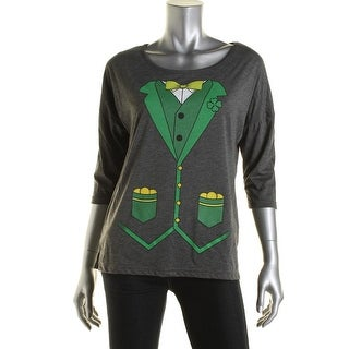 2kuhl Womens Juniors St. Patrick's Graphic Casual Top