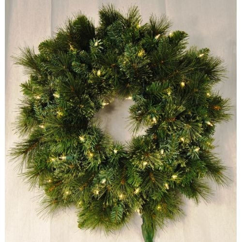 Christmas at Winterland WL-GWBM-02-ICL 24 Inch Pre-Lit Incandescent Clear Blended Pine Wreath Indoor / Outdoor