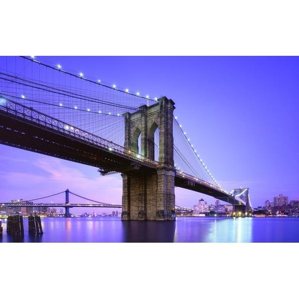 "LED Lighted Famous New York City Brooklyn Bridge Canvas Wall Art 15.75"" x 23.5"""