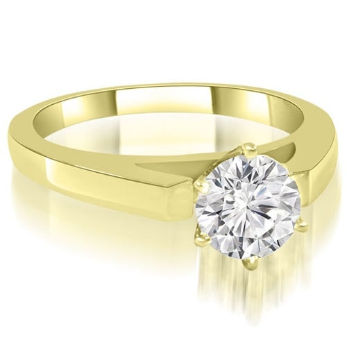 0.75 cttw. 14K Yellow Gold Cathedral Solitaire Round Diamond Engagement Ring
