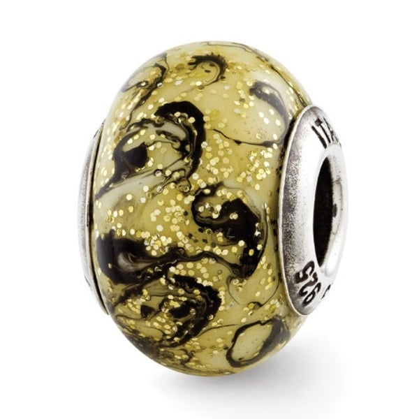 Italian Sterling Silver Reflections Yellow with Black Swirls Bead (4mm Diameter Hole)