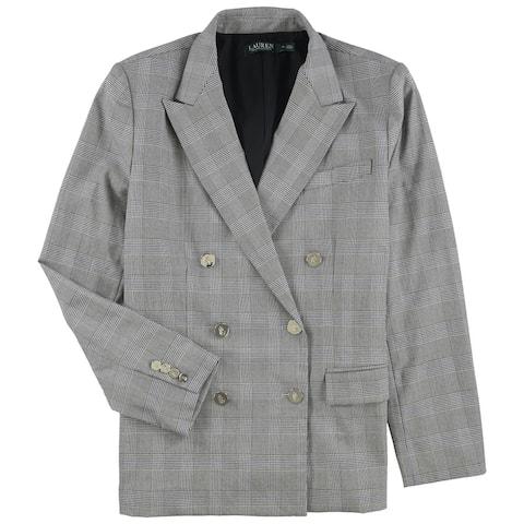 Ralph Lauren Womens Plaid Double Breasted Blazer Jacket