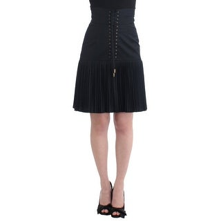Cavalli Cavalli Black Pleated Laced Skirt