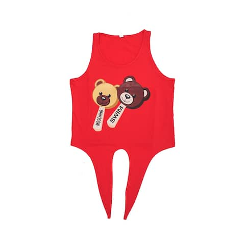 Moschino Women's Cotton Crew Neck Ice Cream Bear Tank Top Shirt Red
