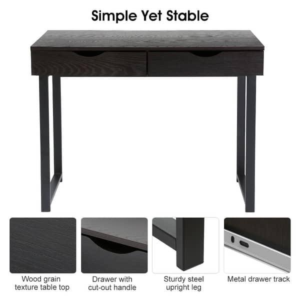meet 82bd9 1baec Shop LANGRIA Modern Black Computer Desk, Writing Desk with ...