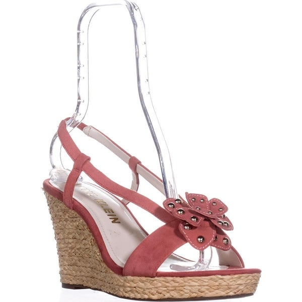 Anne Klein Marigold Suede Wedge Sandals, Coral