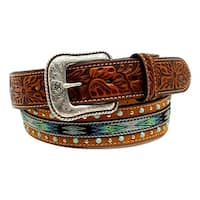 Ariat Western Belt Mens Stones Floral Embossed Ribbon Tan