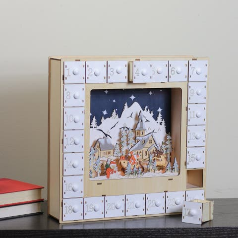 "13.5"" Subtle Colored 2 Piece LED Diarama Village Scene Countdown Advent Calendar - Blue - N/A"