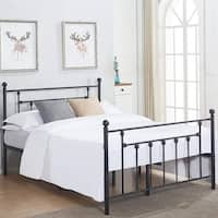 VECELO Bed Frames Victorian Metal Platform Beds ,Box Spring Replacement with Headboard
