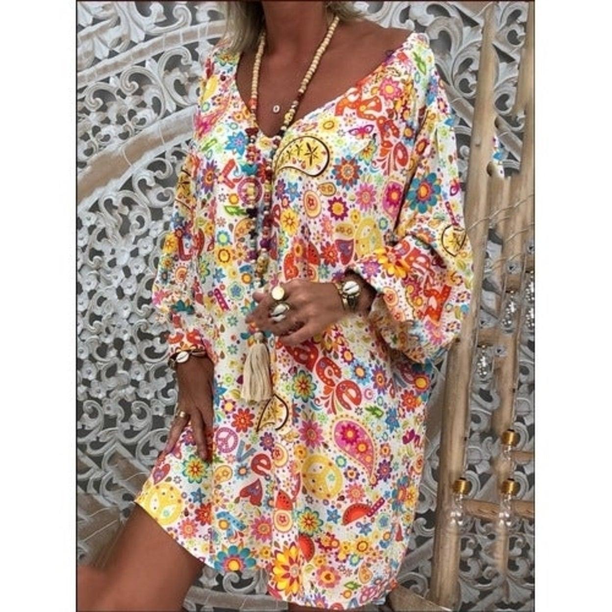HITRAS Women Boho Cotton Linen Dot Mid-Length Dresses Retro Round Neck Short Sleeved Loose Dress