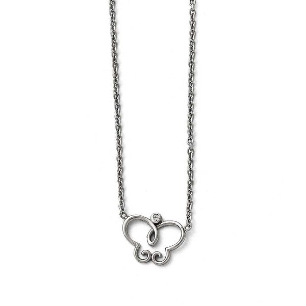 Chisel Stainless Steel Polished Butterfly with CZ Necklace - 17.5 in