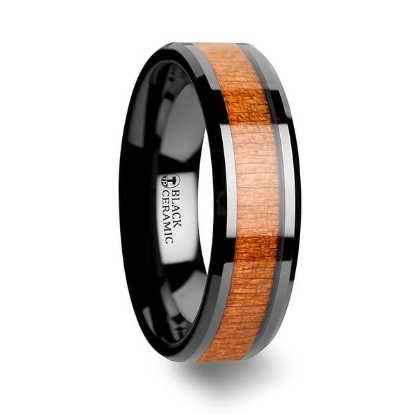 THORSTEN - IOWA Black Ceramic Wedding Ring with Polished Bevels and Black Cherry Wood Inlay - 6mm