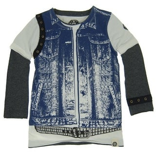 Mini Shatsu Little Boys Blue Denim Vest Rebel Belt Print Twofer Shirt 3T