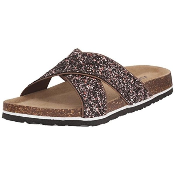JSport by Jambu Womens Grace Slide Sandals Glitter Memory Foam