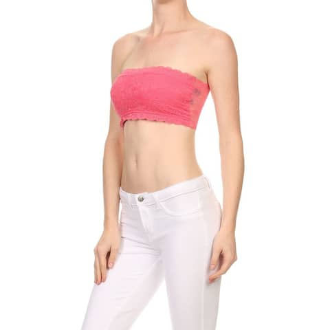 NE PEOPLE WOMEN'S Lace Strapless Bandeau Fitted Style [NEWT189]