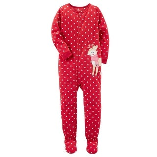 Carter's Baby Girls' 1 Piece Reindeer Fleece Pajamas, 24 Months