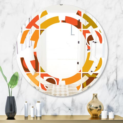 Designart 'Abstract Retro Geometric Pattern VI' Modern Round or Oval Wall Mirror - Space