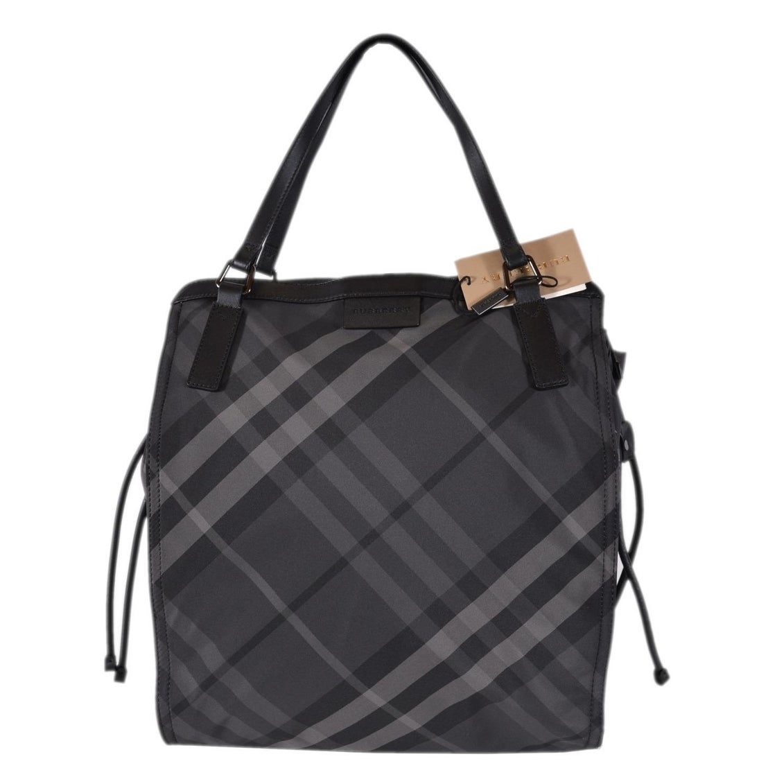 aff7275215 Shop Burberry Grey Nylon Nova Check Packable Purse Bag Tote Shopper - Black  - Free Shipping Today - Overstock - 24267415