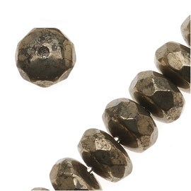Pyrite Fool's Gold Faceted Rondelle Beads 4x6mm (20 Beads)