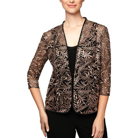 Alex Evenings Womens Petites Jacket Embroidered 2PC