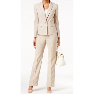 Le Suit NEW Beige Women's Size 12 Single Button Textured Pant Suit