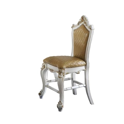ACME Picardy Counter Height Chair (Set-2) in Antique Pearl and Butterscotch PU