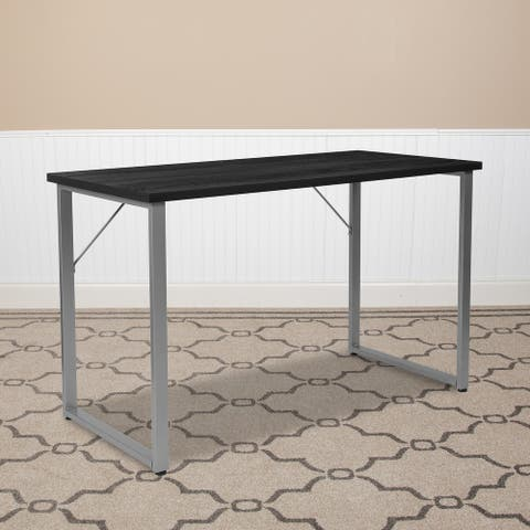 Computer Desk with Silver Metal Frame - Home Office Furniture