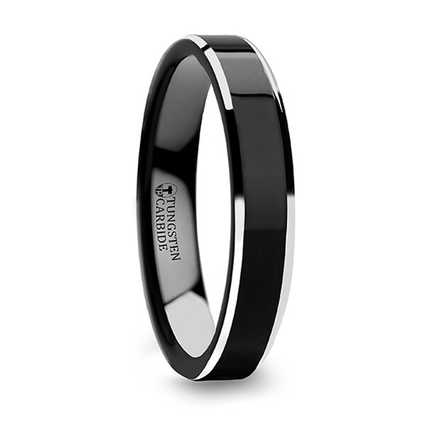 THORSTEN - MACLAREN Black Polish Finished Center Tungsten Carbide Ring with Metallic Beveled Edges - 4mm