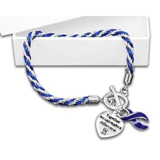 Arthritis Awareness Dark Blue Ribbon Bracelet - Rope
