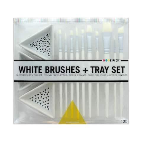 30014901 darice i spy diy brush tray set white