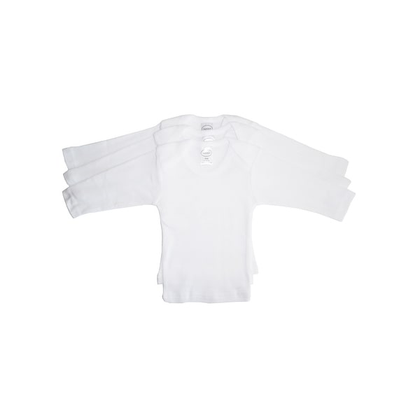 Bambini Baby White Rib Knit Long Sleeve Lap T-Shirt 3-Pack