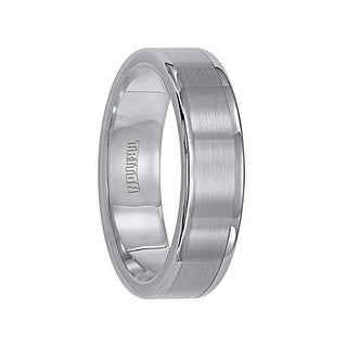 EVERETT Flat Tungsten Carbide Wedding Band with Satin Finished Center and Bright Polished Round Edges by Triton Rings - 6 mm